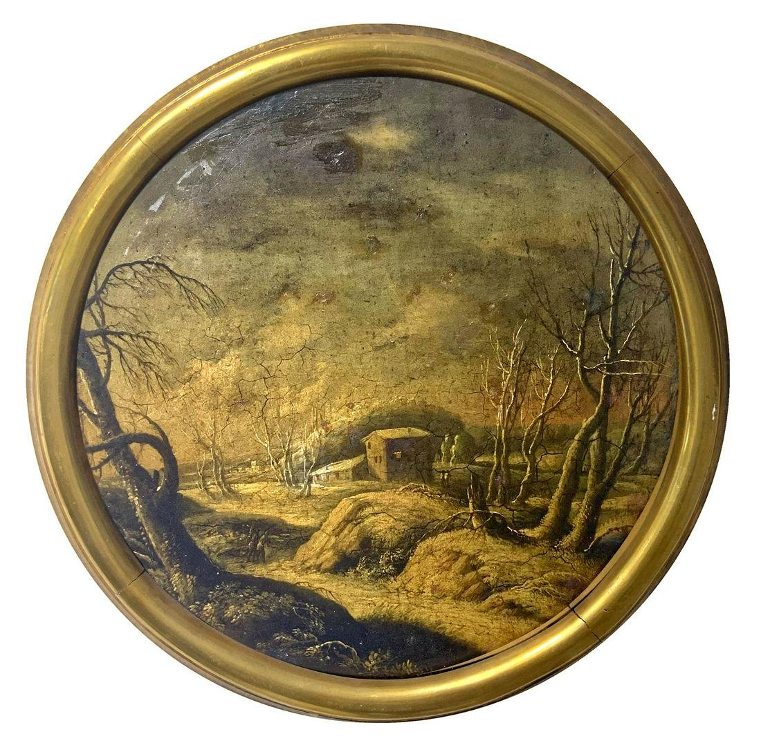 Painter from the 18th century. Round painting of snowy