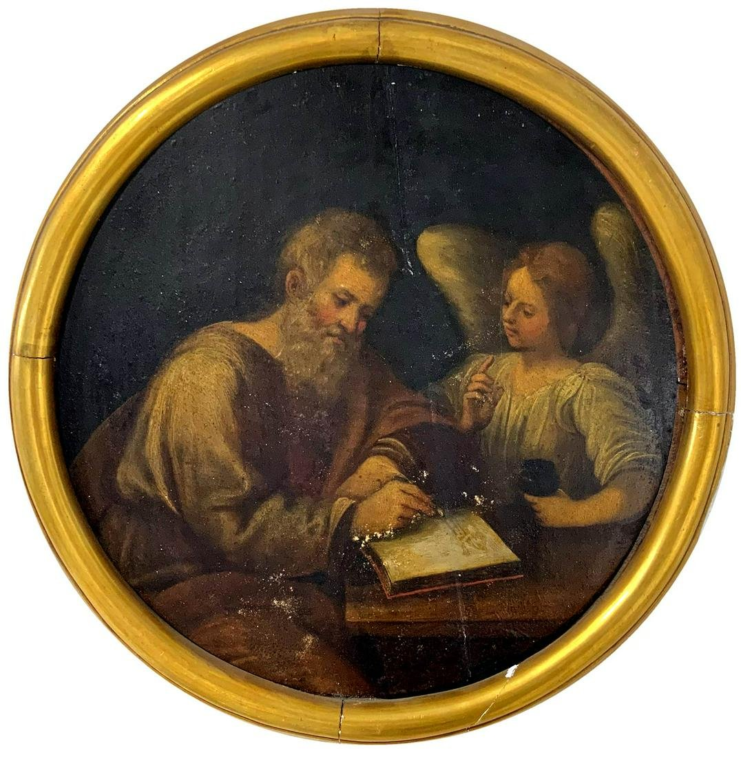 Painter from the 18th century. Round painting of Saint