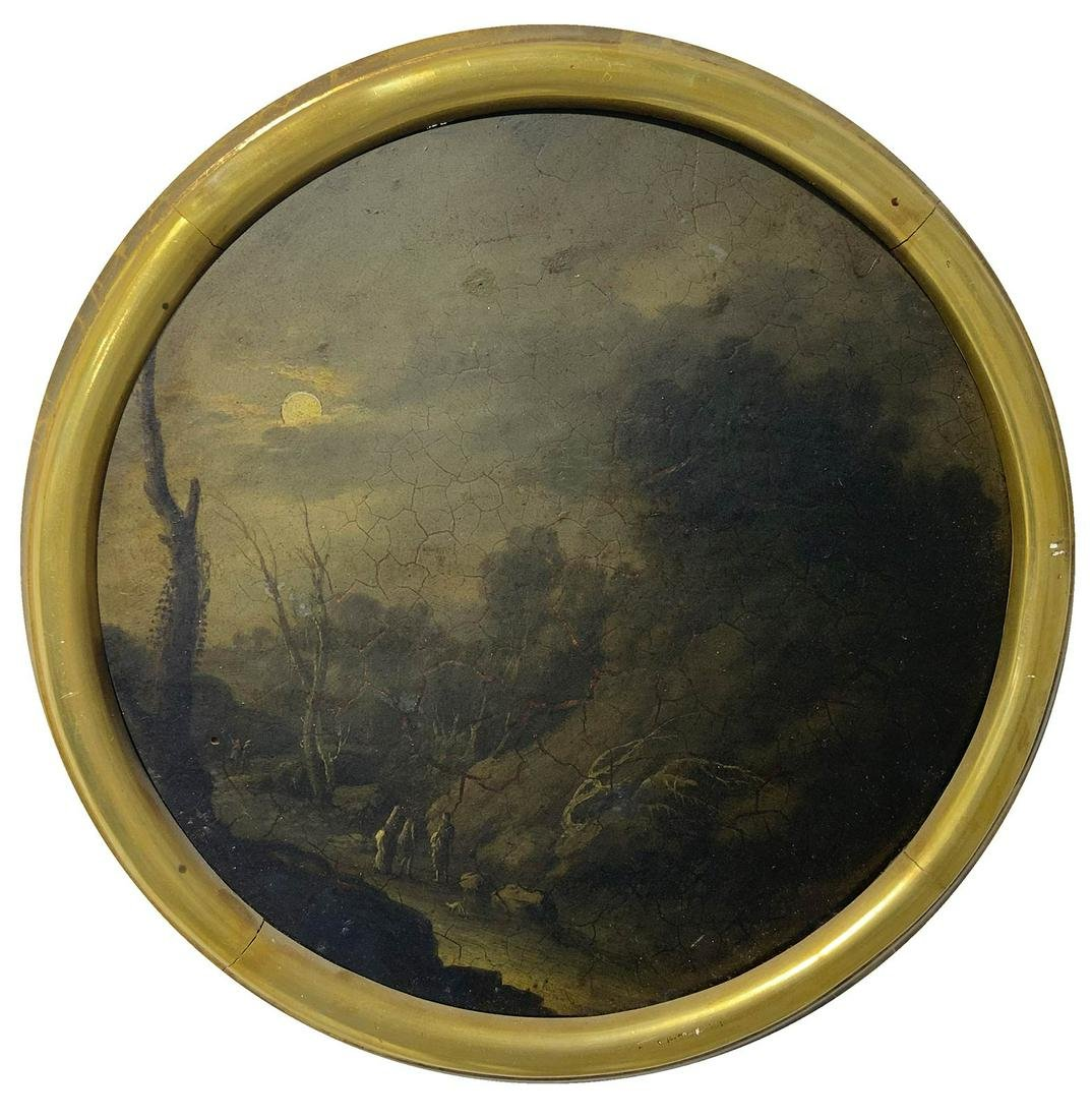 Painter from the 18th century. Round painting of rural