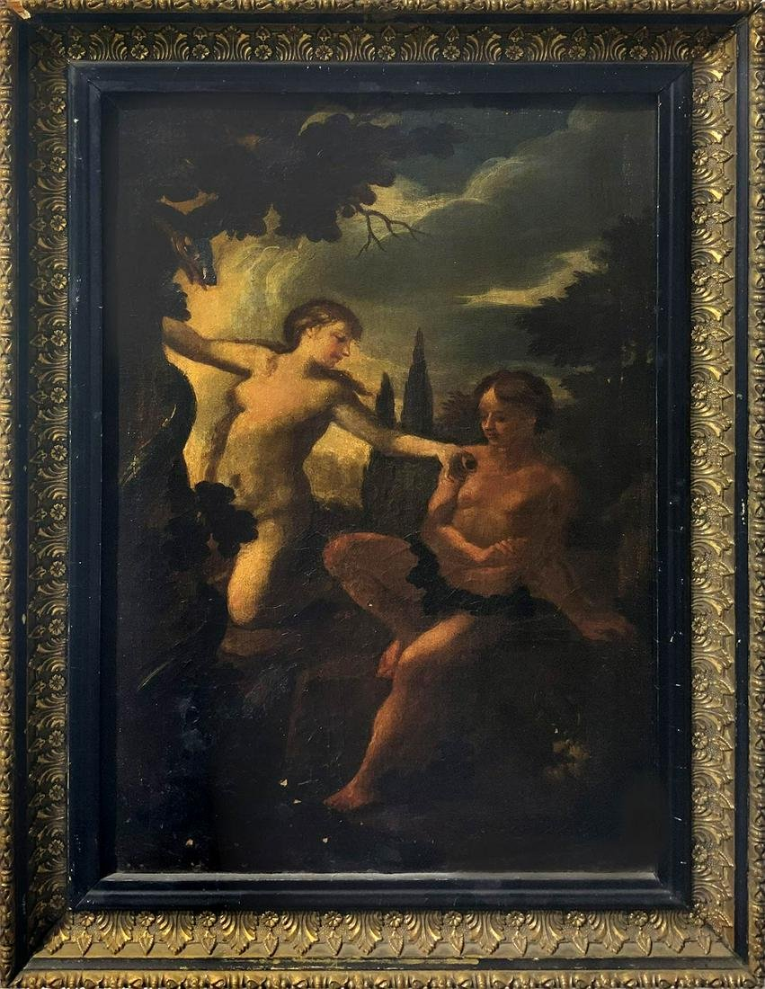 Painter from the 17th century. Adam and Eve. 38x25, oil