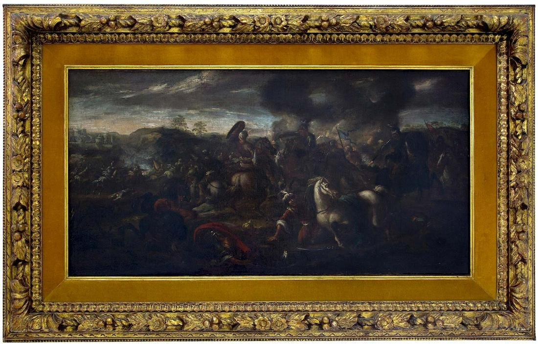 Italian painter from the early 17th century. Battle,