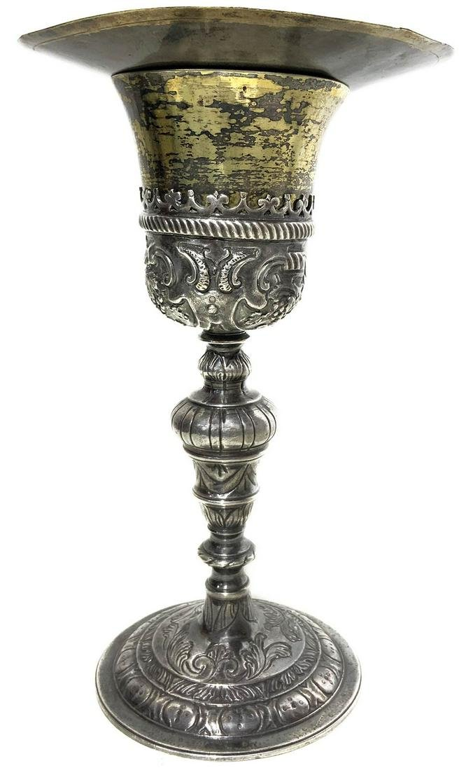 """Silver wine cup, dated 1680. Punched paten """"Aquila di"""