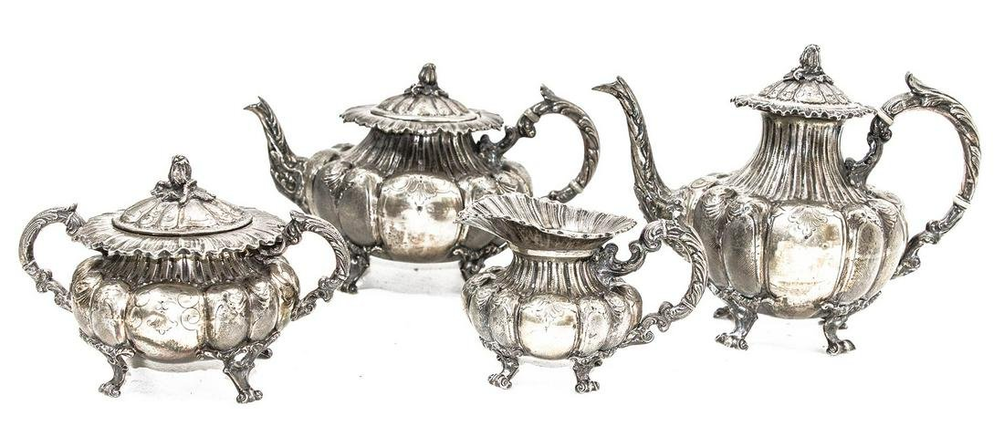 Set of silverware, 4 pieces , teapot( H cm 19),
