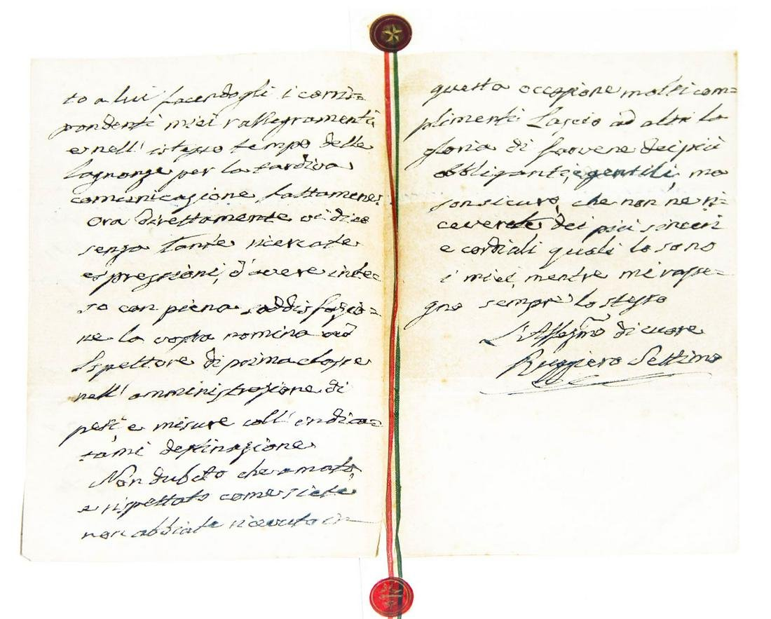 Signed manuscript letter by Ruggiero Settimo 30 october
