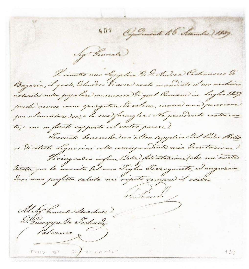 Signed letter by Ferdinando II, King of the two
