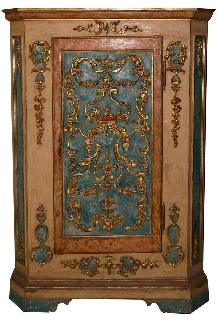 Golden varnished corner cupboard. Late 18th century.H