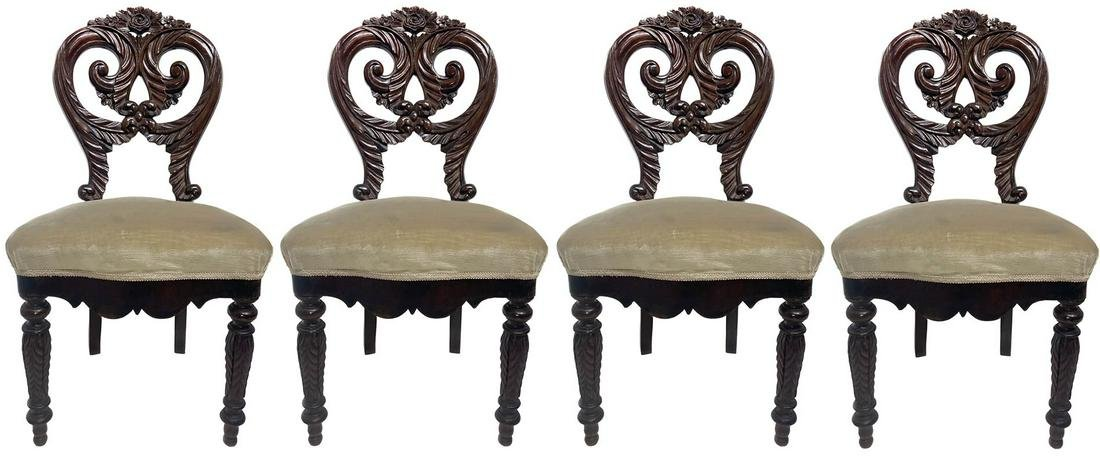 4 chairs, early 20th century. Mahogany wood. Decorated