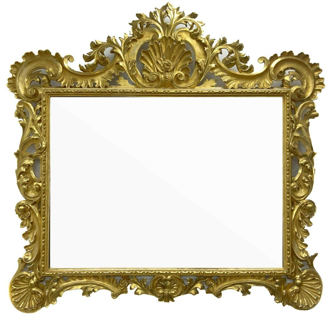 Large and elegant foil gold pier mirror. Late 18th