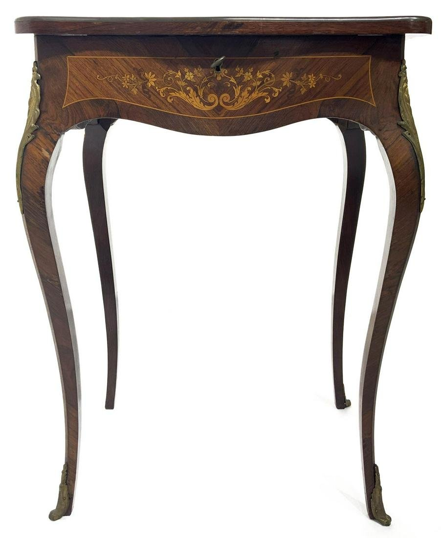 Small work table, inlaid on the surface and on the