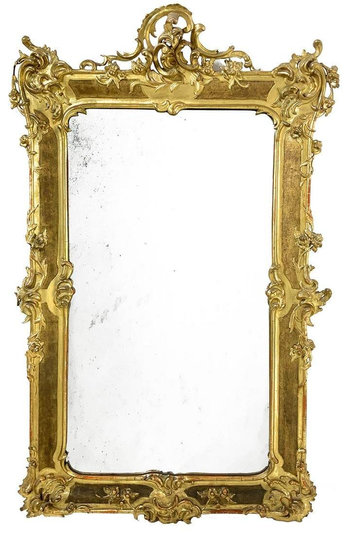 Rectangualr golden wood pier glass, 19th century. H cm
