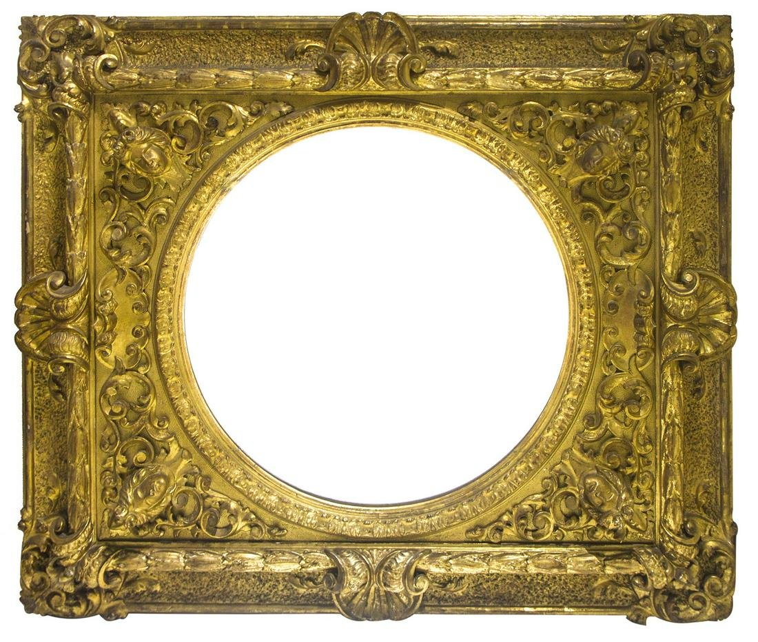 Golden pier mirror from the 19th century. Golden foil.