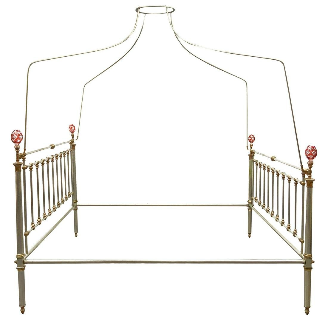 Bed. Late 19th century. headboard tubolare in alpacca