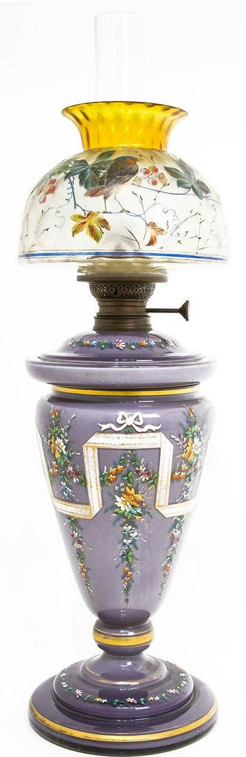 Petrol lamp in opaline, with varnished decorations and