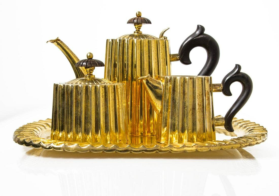 Set of silverware, 925 Vermeil. Try, teapot, milk jug