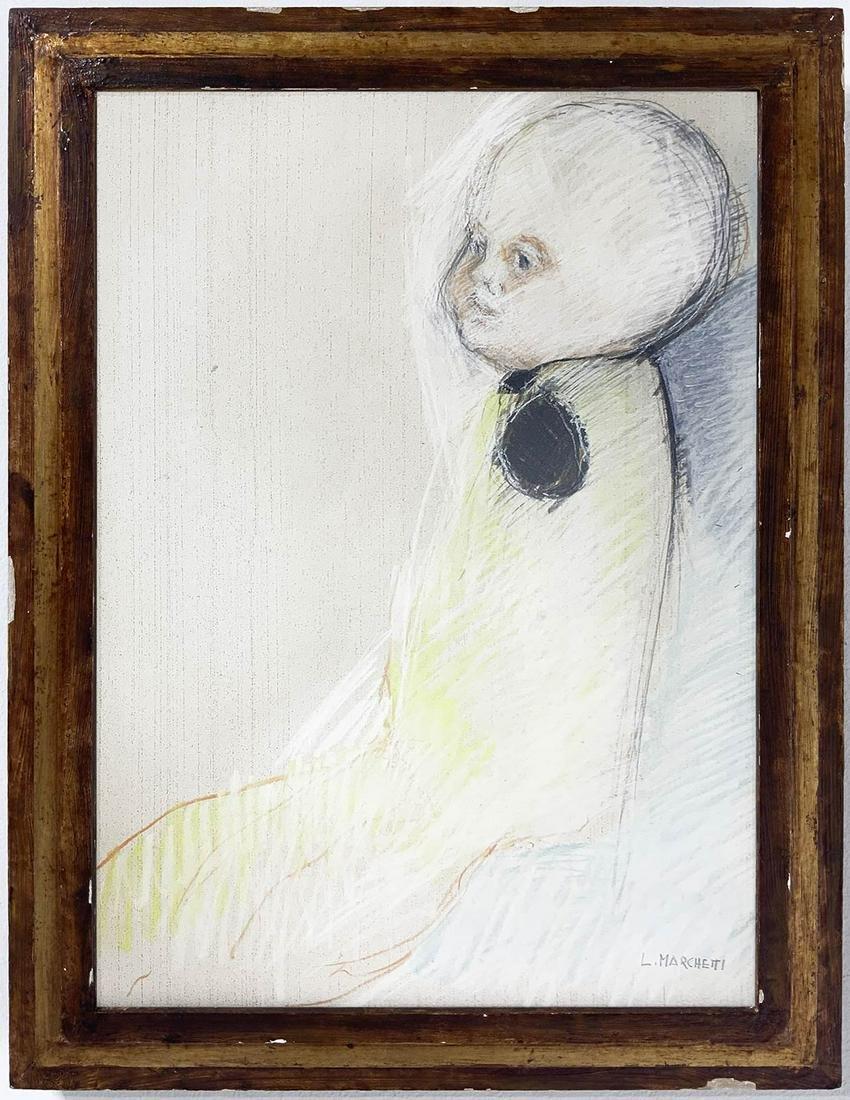 Leonella Marchetti. Child. 50x35L, crayon on paper.