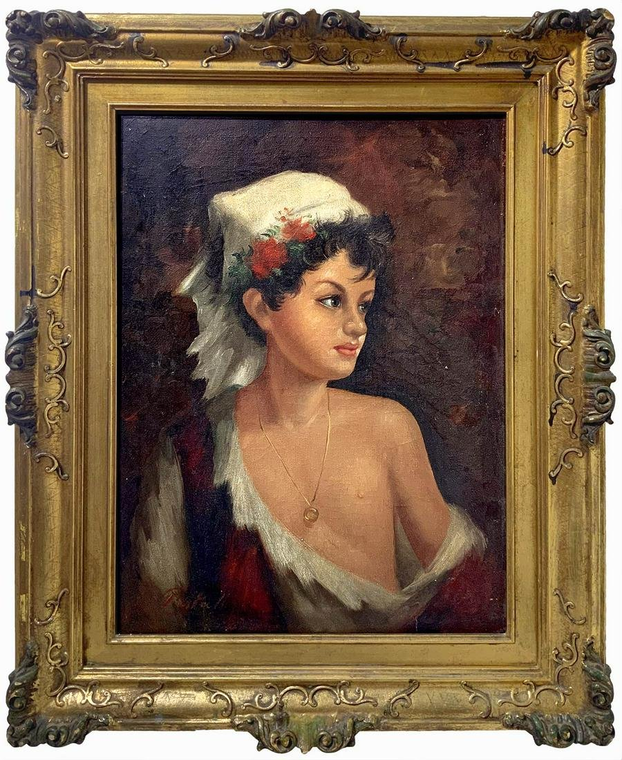 Painter from the 20th century. Girl's portrait.