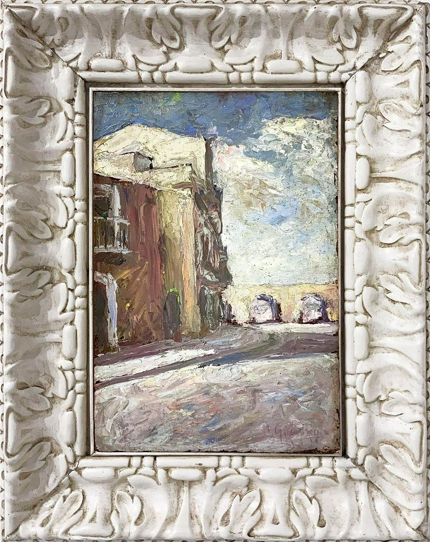 Italian painter from the 20th century. Street of