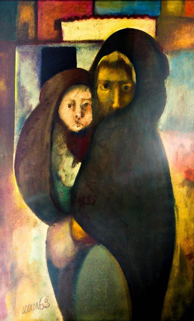 20th century painter. Motherhood. 95cm x 70cm, oil on