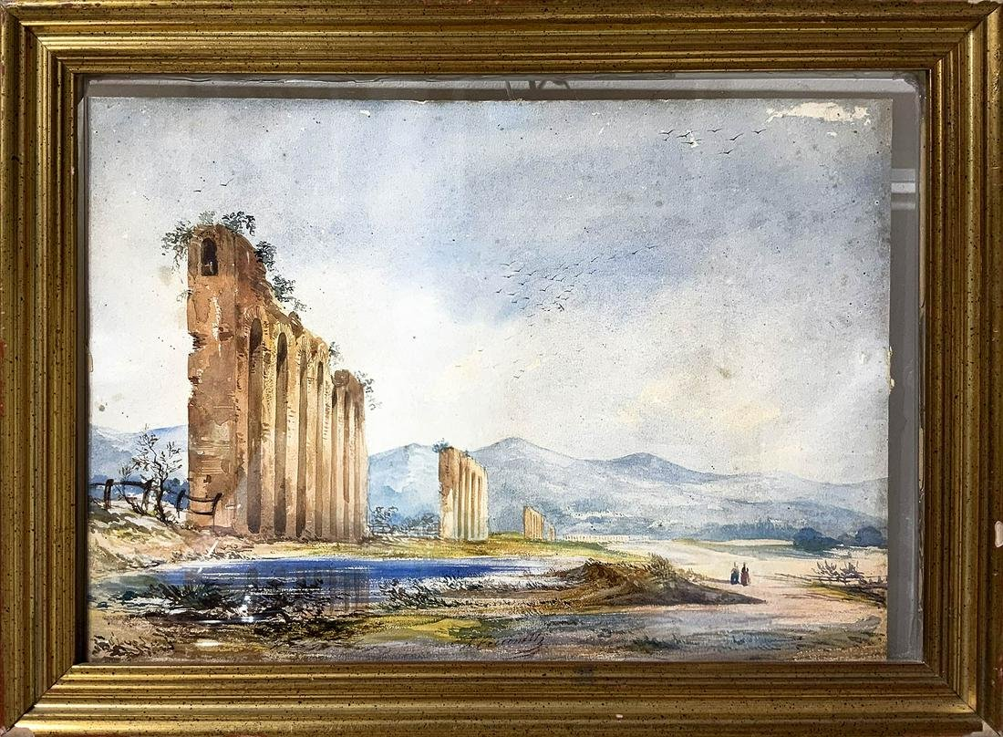 Felice Cicconetti. Landscape with ruins. 33.5x23.5,