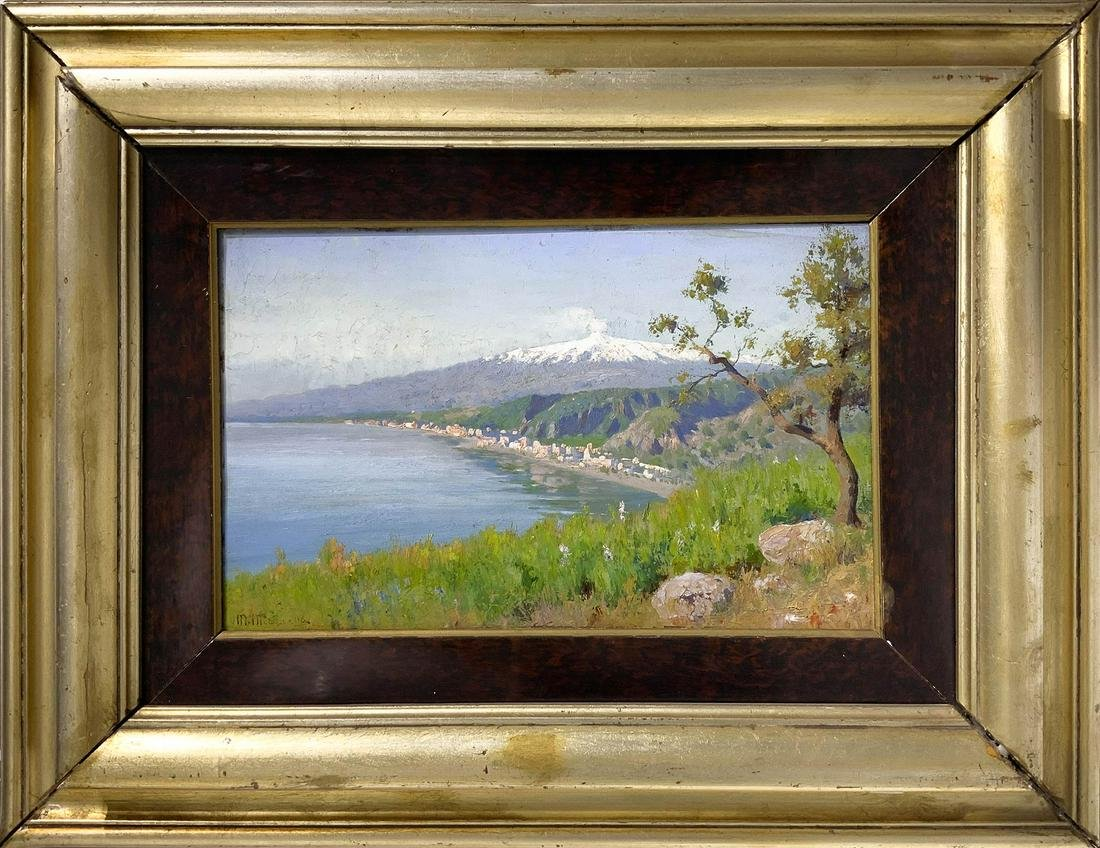 Mario Mirabella (Palermo 1870-1931). View of Etna from