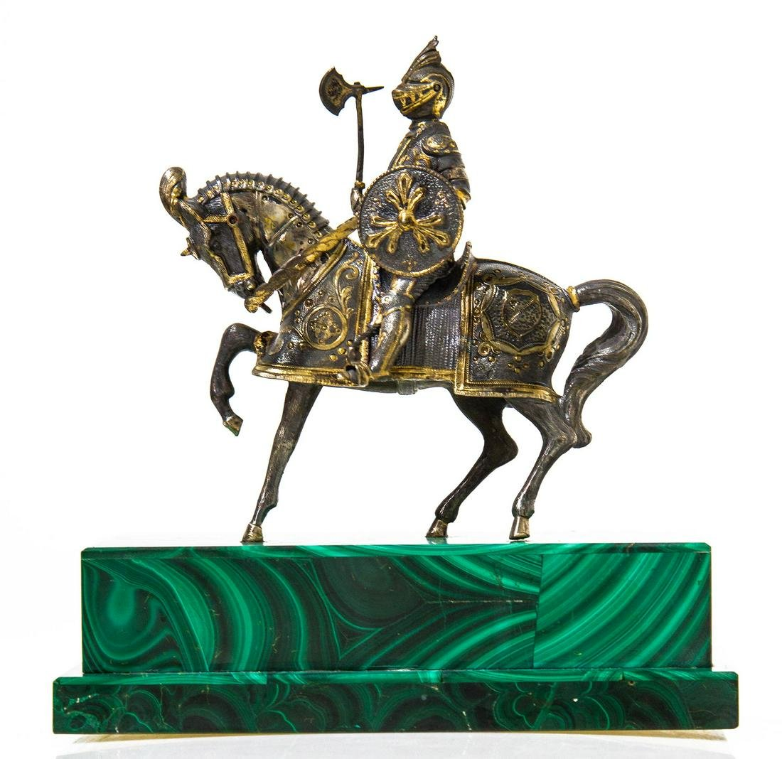 Knight riding a horse, in vermeil silver, malachite