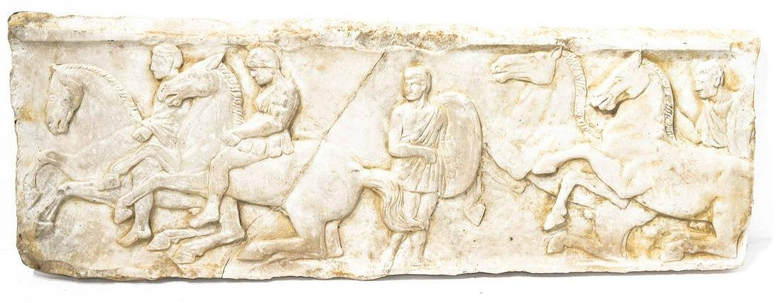 White marble piece, bas-relief. Neoclassic period.