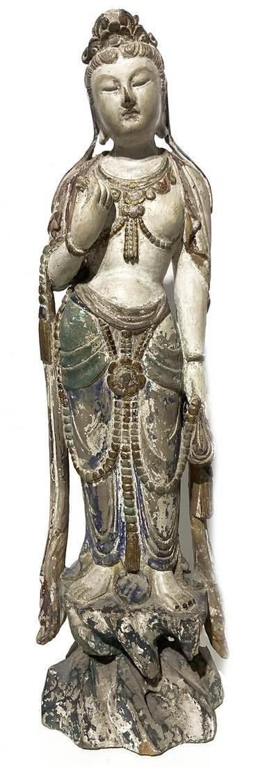 Eastern Wooden statuette, polychormatic. H cm 53,5