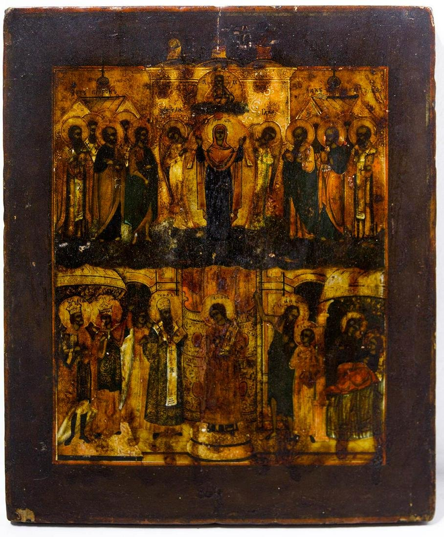 Russian icon, 19th century. Virgin Mary and Saints. Cm