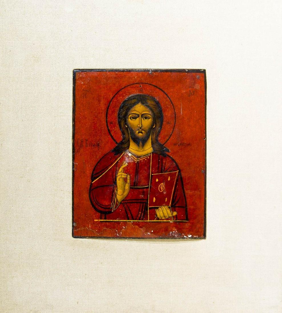 Russian icon, 19th century. Pantocrator Christ. Cm