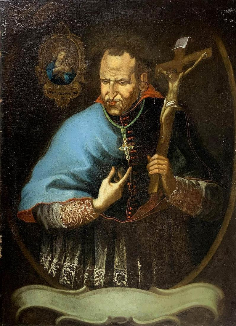 Painter from the 17th century. San Carlo Borromeo. 75,5