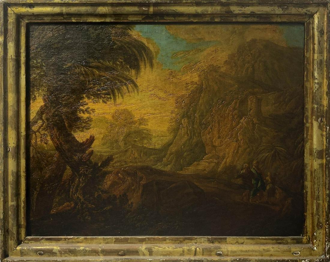 Italian painter from the 18th century. Rocks landscape
