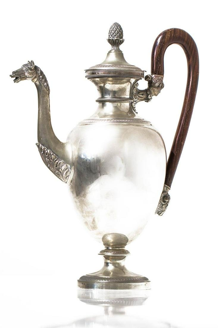 Silver 800 teapot, with horse head shaped spout -