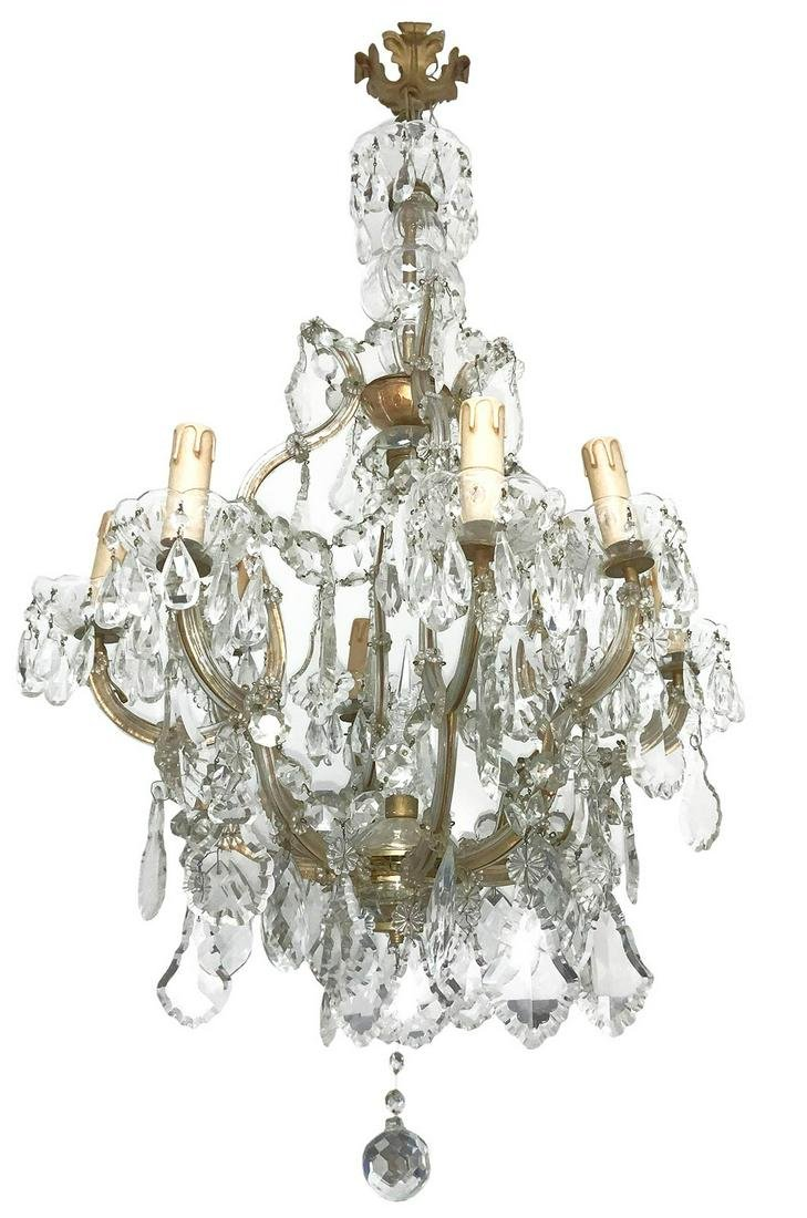 Chandelier with glass charms, Maria Teresa style, 20th
