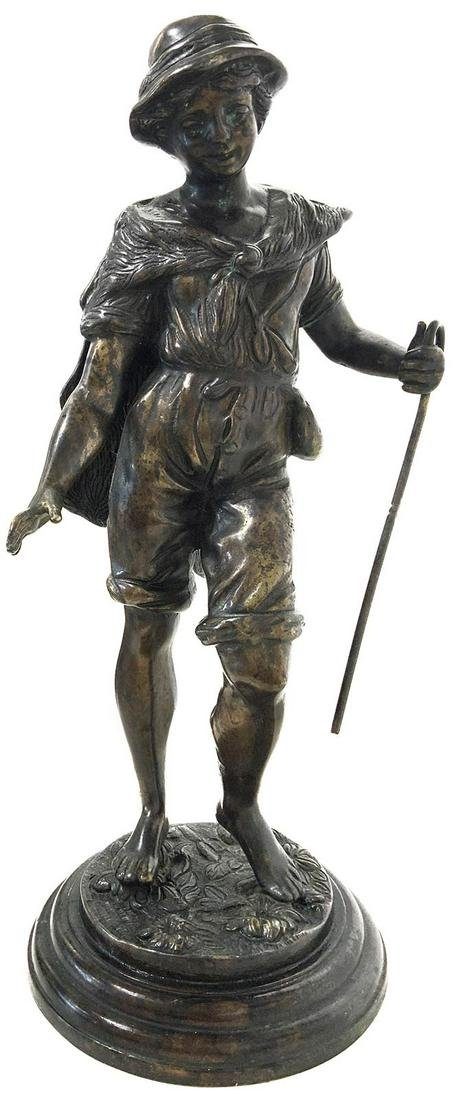 Patineted bronze sculpture, 919th century. Young