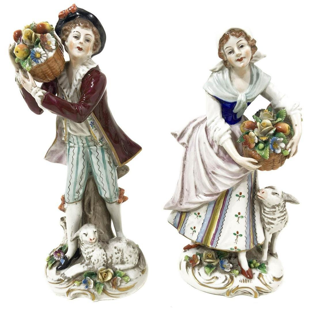 Pair of Capodimonte porcelain statuettes, 20th century.