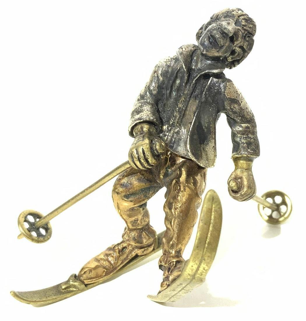 Silver statuette, 1960s. Clown skiing. H cm 6