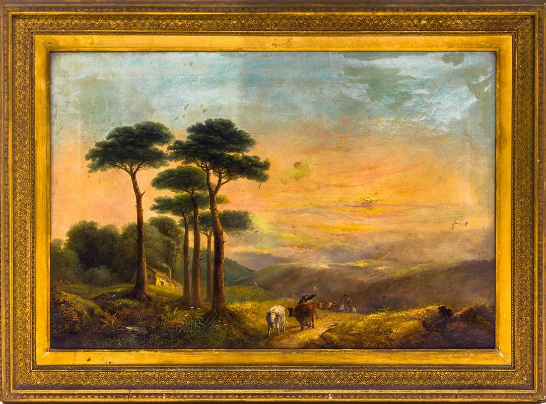 English painter from the 19th century. Landscape with