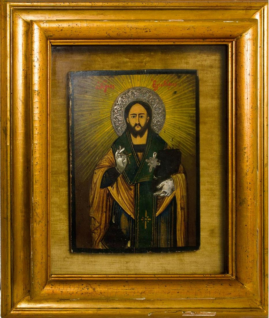 19th century icon, Greece, Saint representation. Halo