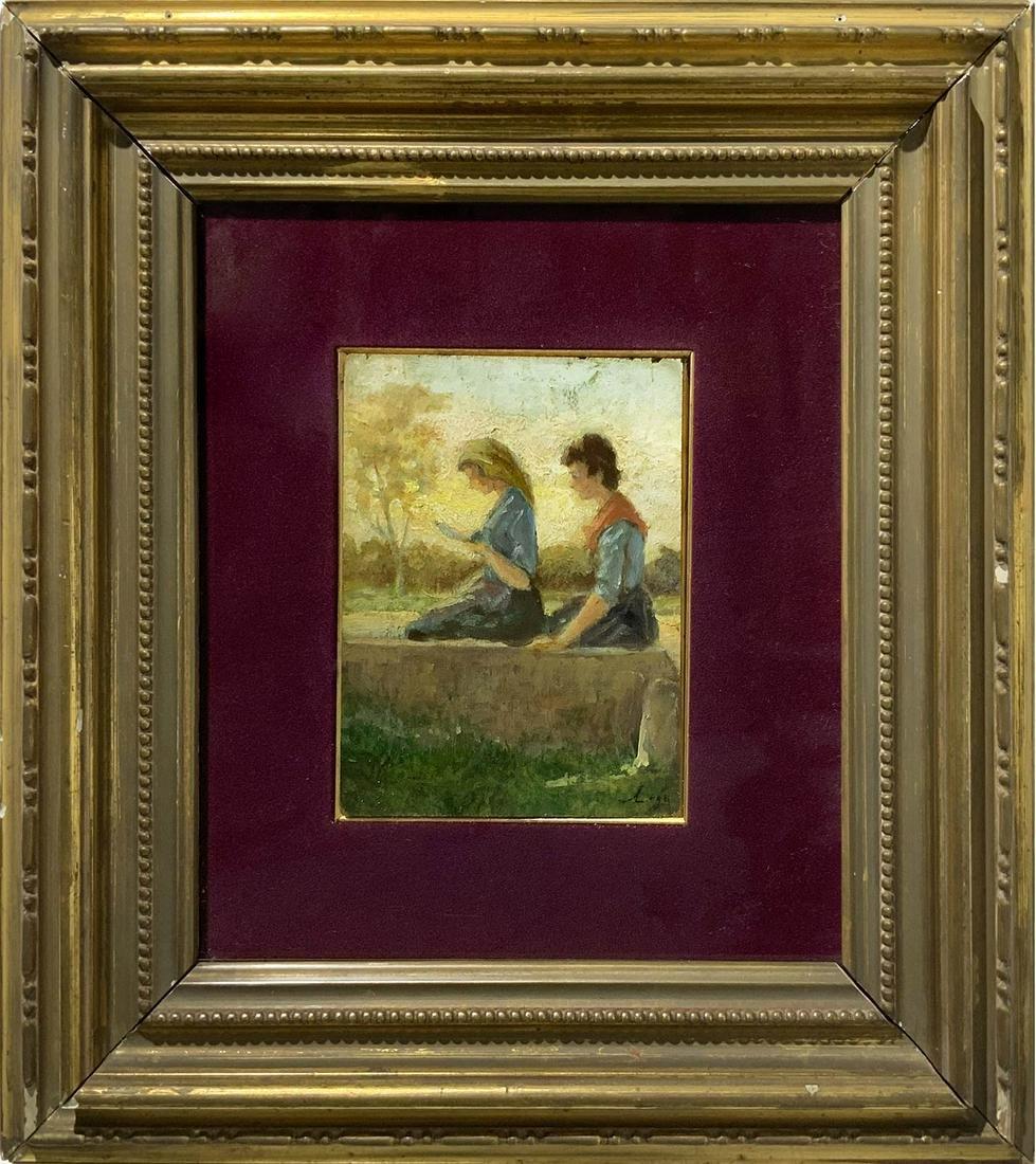 Italian painter, late 20th century. Young women. 14cm x