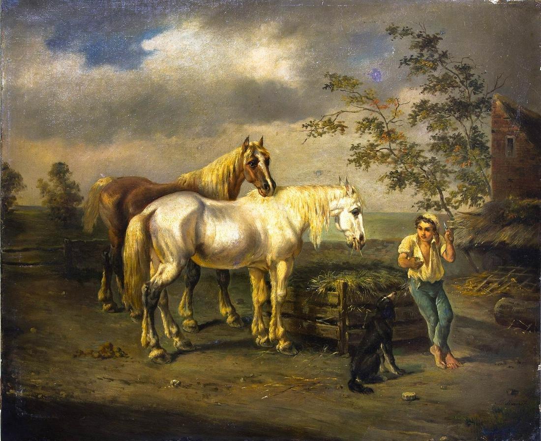 Italian painter from the 19th century. Bucolic scene