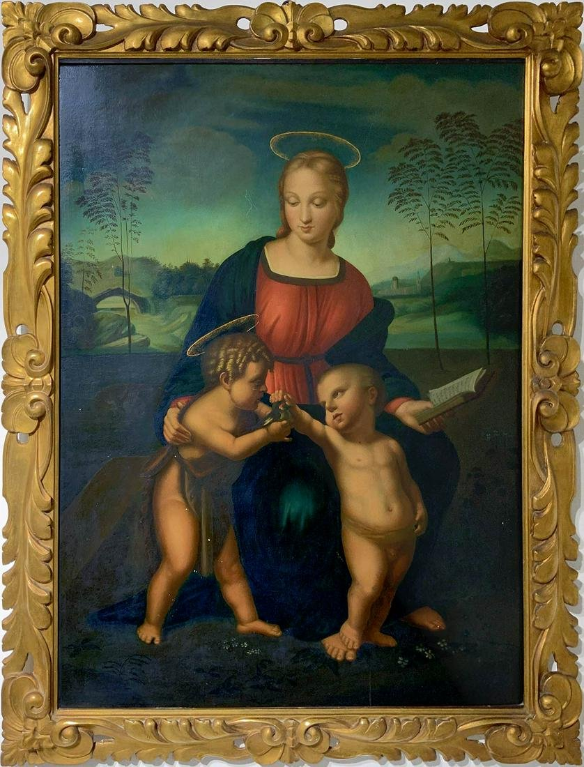 Painter from the 19th century.  Madonna with Goldfinch,