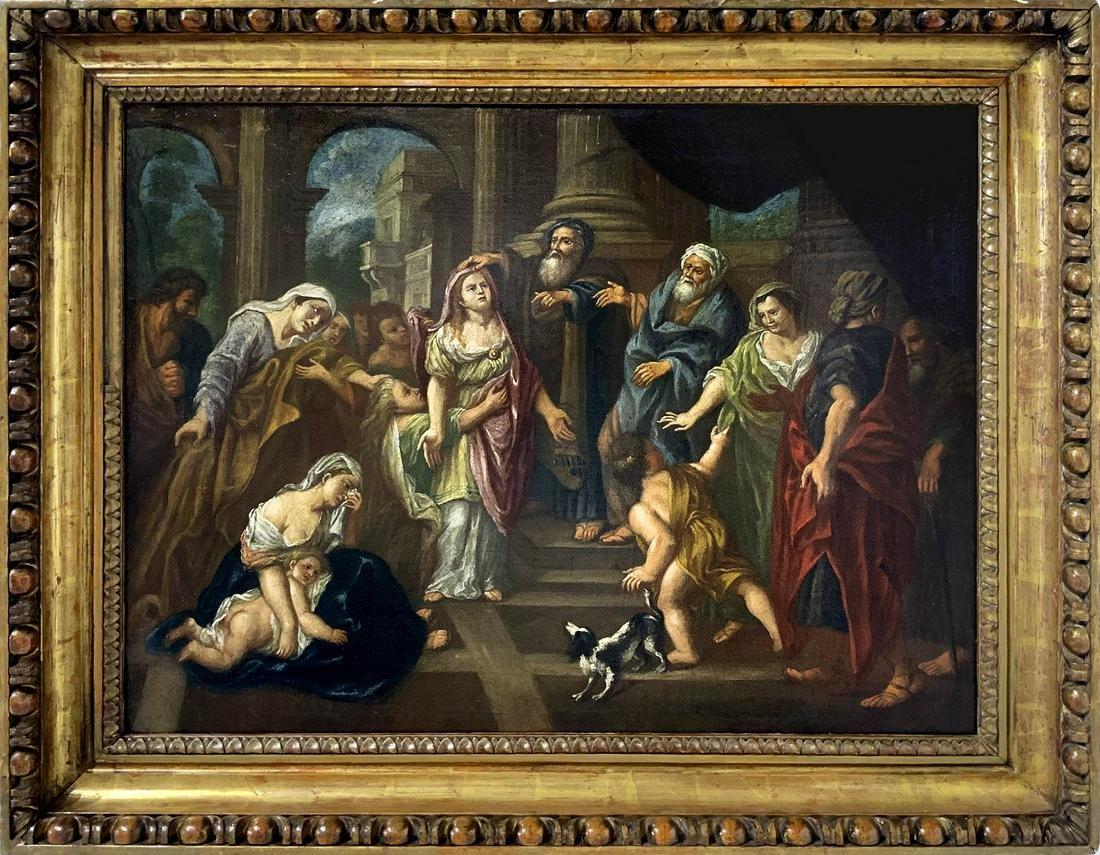 Italian painter fromt he 17th century. Biblical scene.