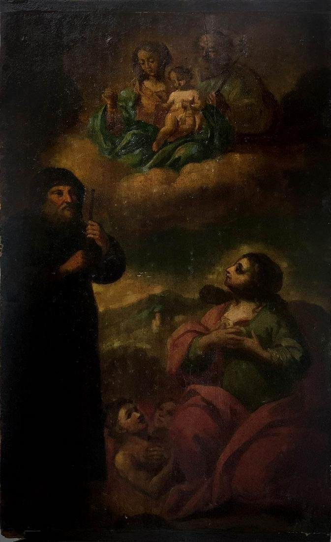 Painter from the 18th century. Holy Family, Saints