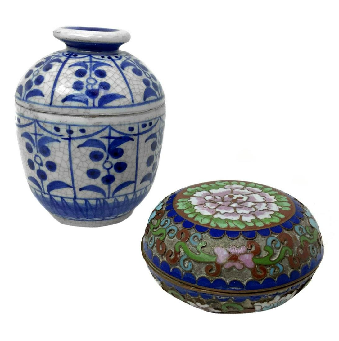 Jar with lid decorated (Thai) and cloisonné box