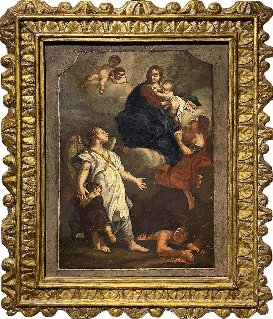 Oil painting on canvas depicting the Madonna and Child