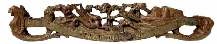 Cart Key wooden carved depicting Enea kills the dragon,