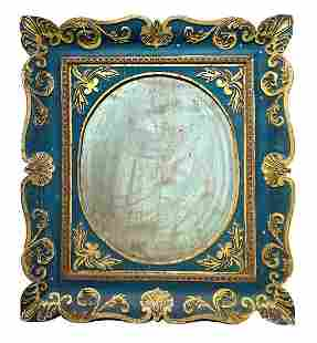 Golden and lacquered wood mirror in blue tones