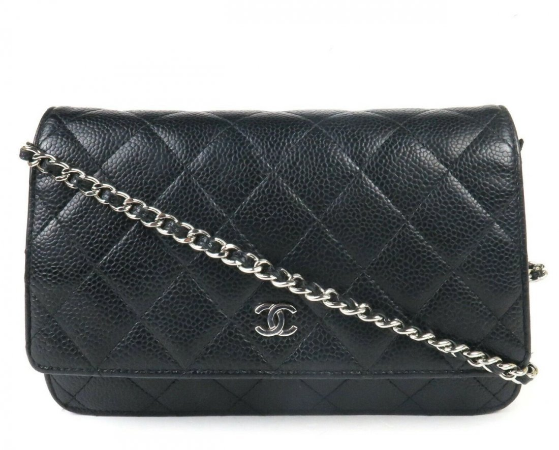 Chanel Black Caviar Wallet on a Chain Crossbody