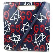 Gucci - New - Graffiti Ghost Shoulder Tote Bag Blue &