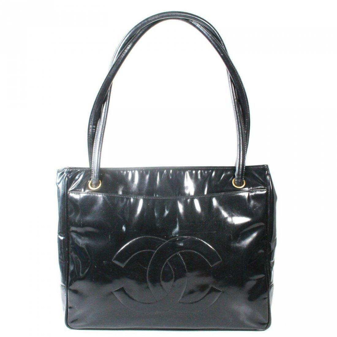 Chanel - Vintage CC Tote Bag - Patent Leather - Medium
